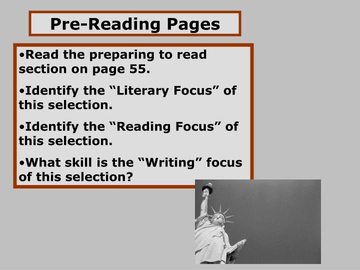 Pre-Reading Pages
