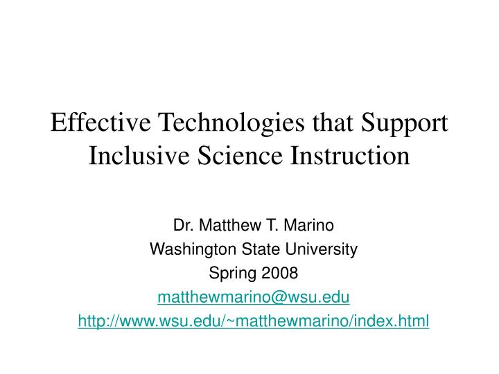 Effective technologies that support inclusive science instruction