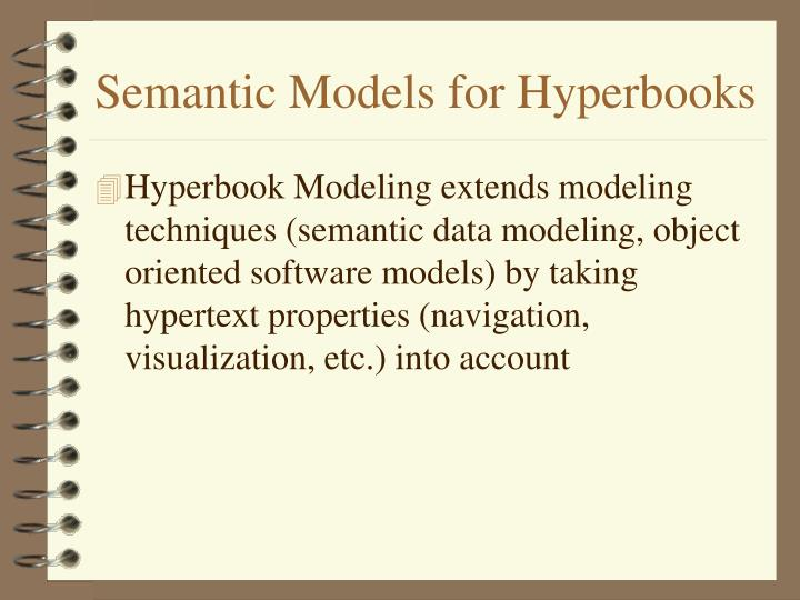 Semantic Models for Hyperbooks