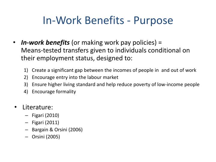 In-Work Benefits - Purpose