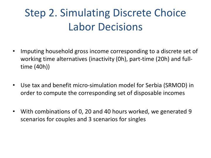 Step 2. Simulating Discrete Choice Labor Decisions