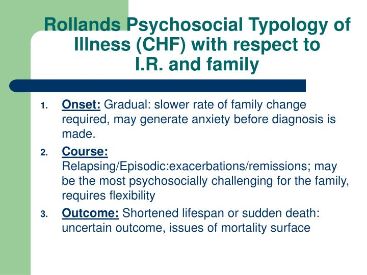 Rollands Psychosocial Typology of Illness (CHF) with respect to