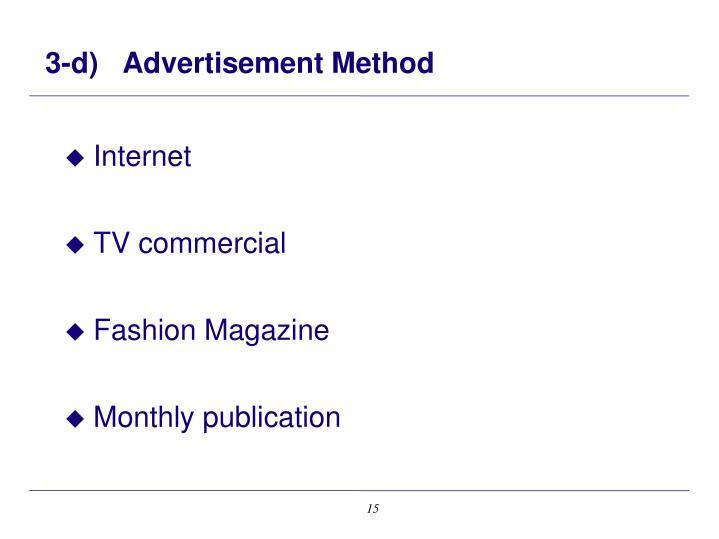 3-d)   Advertisement Method