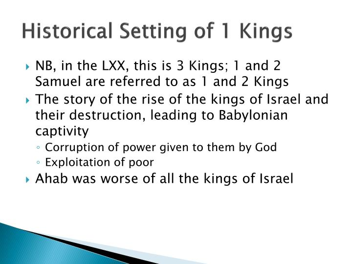 Historical Setting of 1 Kings