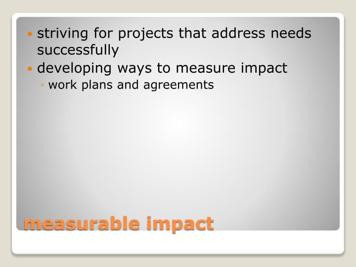 striving for projects that address needs successfully
