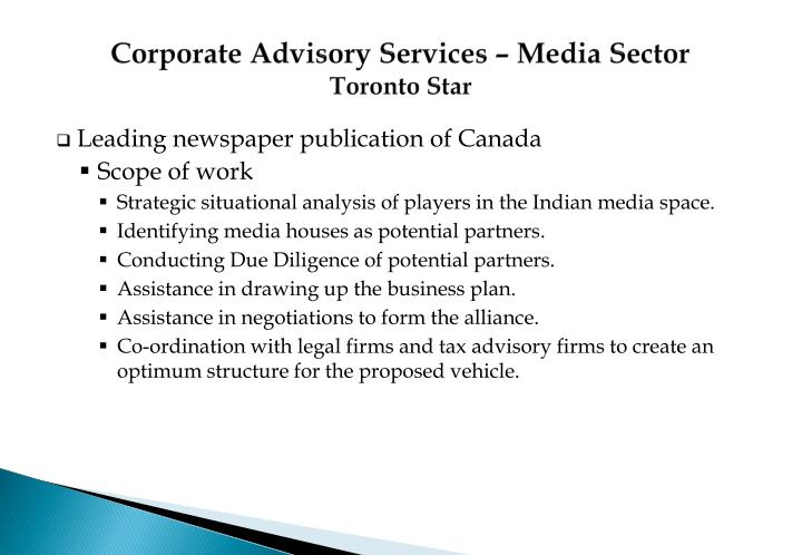 Corporate Advisory Services – Media Sector