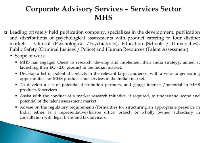 Corporate Advisory Services – Services Sector