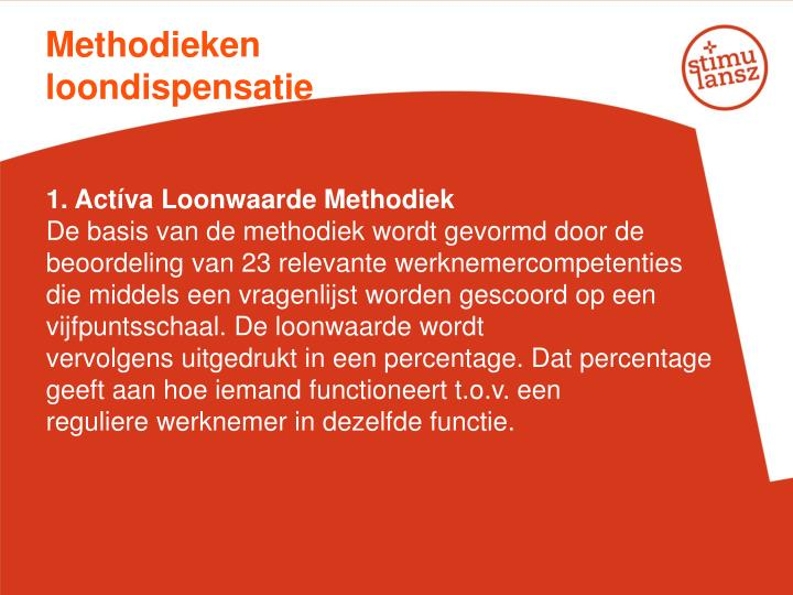 Methodieken loondispensatie