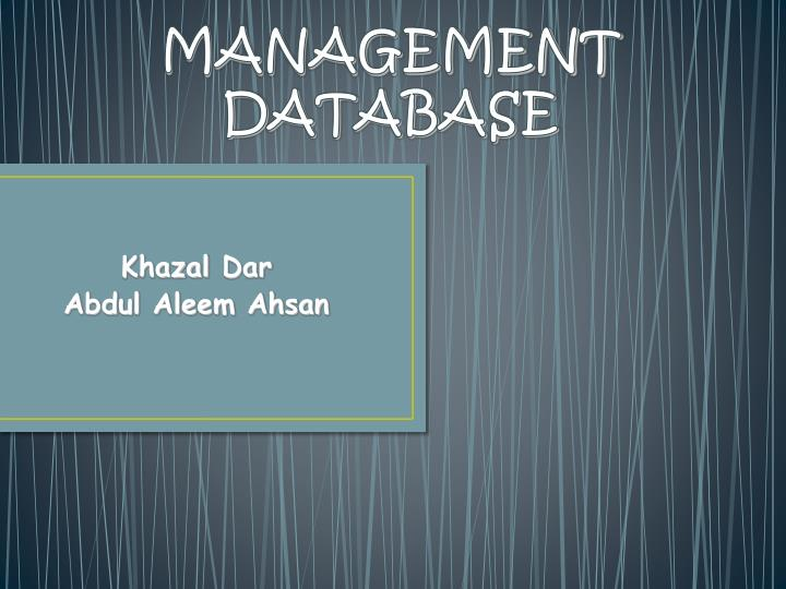 Management database