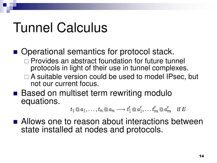 Tunnel Calculus