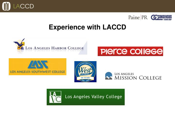 Experience with LACCD