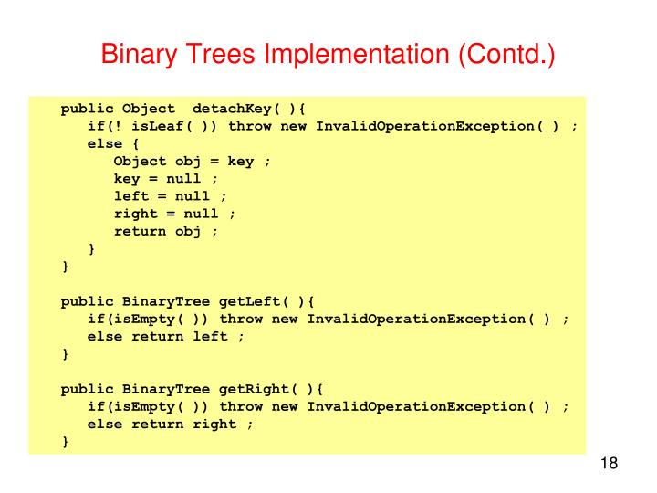 Binary Trees Implementation (Contd.)