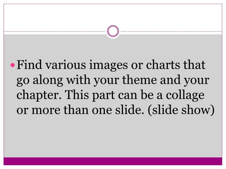 Find various images or charts that go along with your theme and your chapter. This part can be a collage or more than one slide. (slide show)