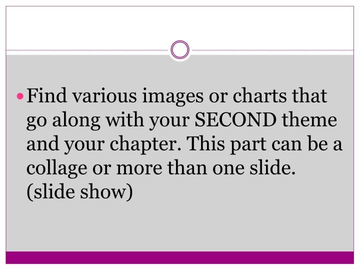 Find various images or charts that go along with your SECOND theme and your chapter. This part can be a collage or more than one slide. (slide show)