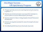 one major success lift up literacy program