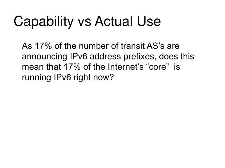 Capability vs Actual Use
