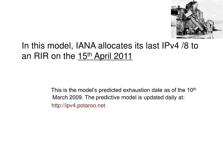 In this model, IANA allocates its last IPv4 /8 to an RIR on the