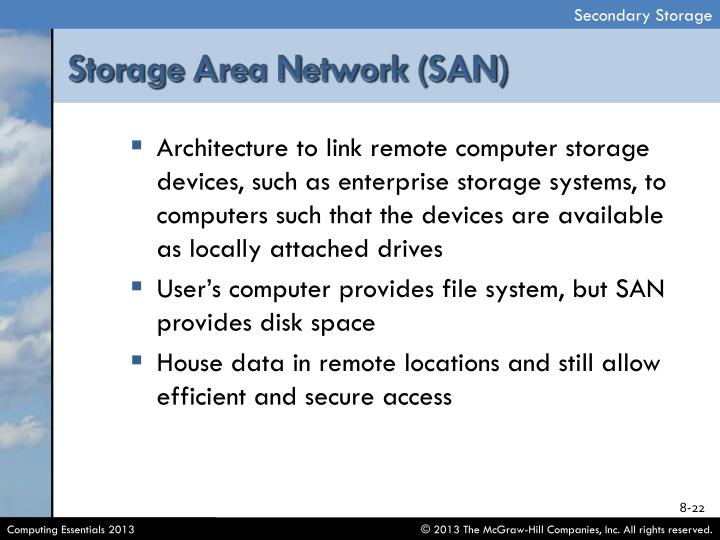 Architecture to link remote computer storage devices, such as enterprise storage systems, to computers such that the devices are available as locally attached drives