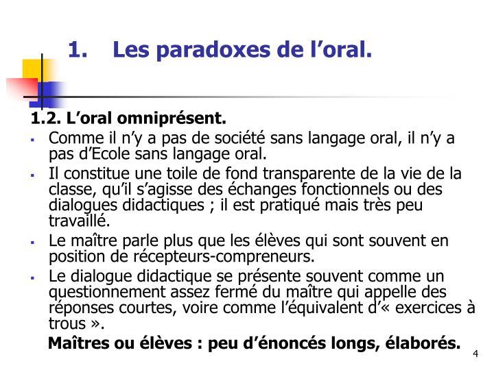 Les paradoxes de l'oral.