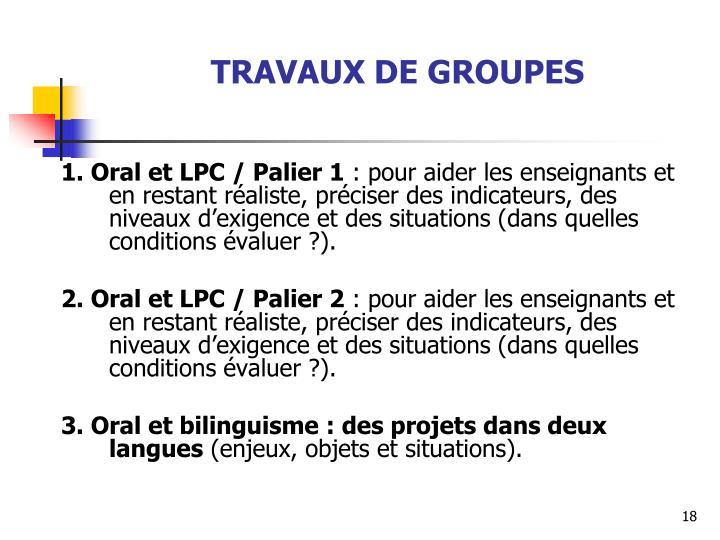 TRAVAUX DE GROUPES