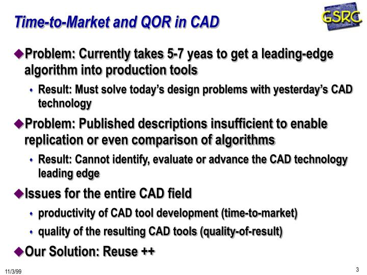 Time-to-Market and QOR in CAD
