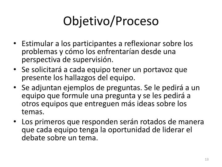 Objetivo/Proceso