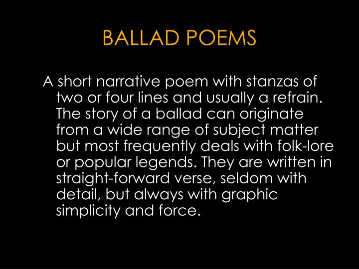 BALLAD POEMS