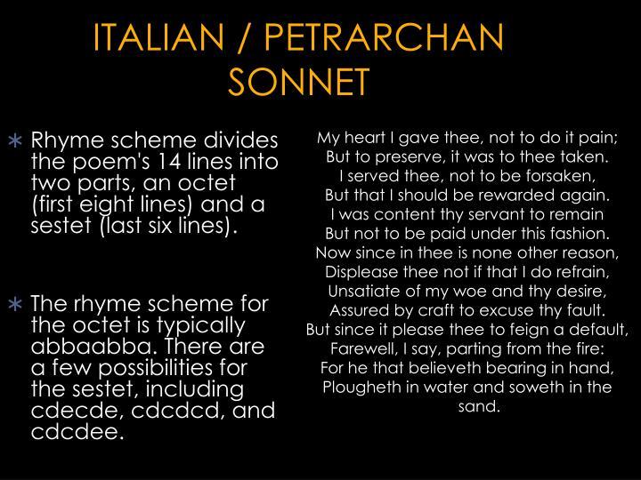 ITALIAN / PETRARCHAN SONNET