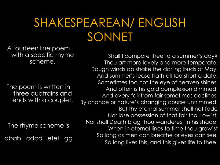 SHAKESPEAREAN/ ENGLISH SONNET