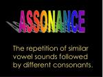 the repetition of similar vowel sounds followed by different consonants