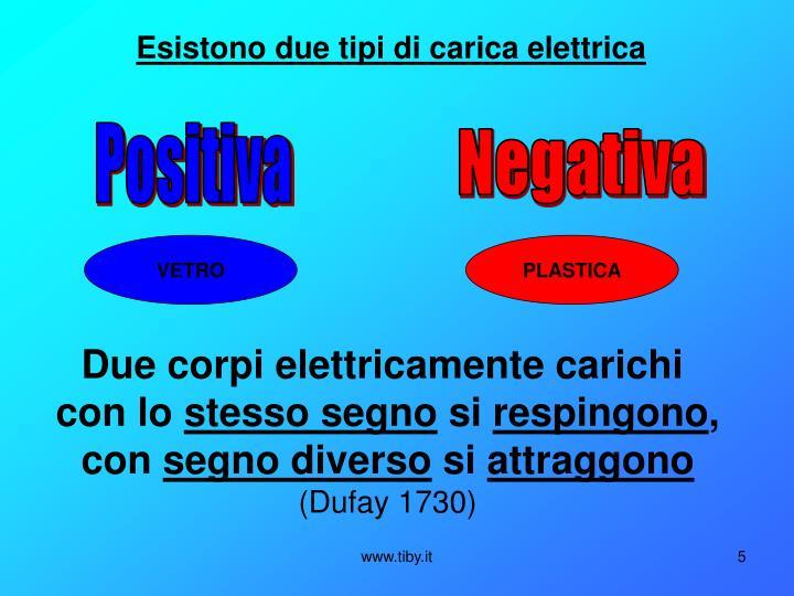 Esistono due tipi di carica elettrica