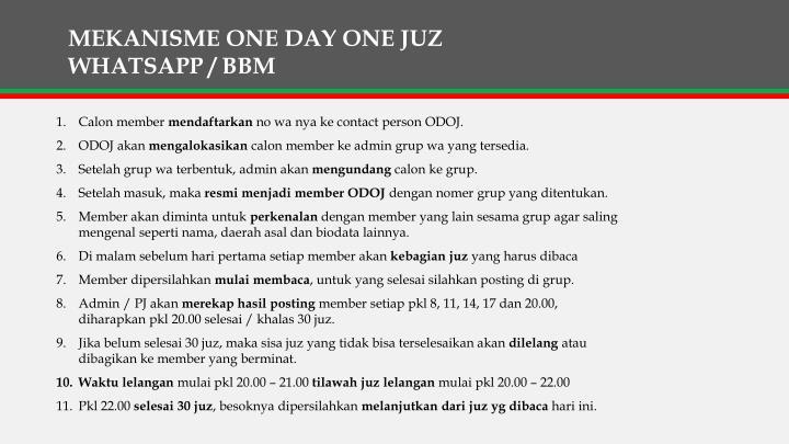 MEKANISME ONE DAY ONE JUZ WHATSAPP / BBM