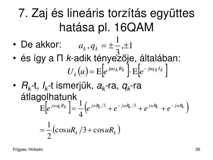 7. Zaj és lineáris torzítás együttes hatása pl. 16QAM