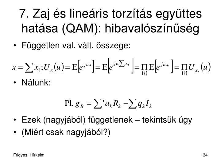 7. Zaj és lineáris torzítás együttes hatása (QAM): hibavalószínűség