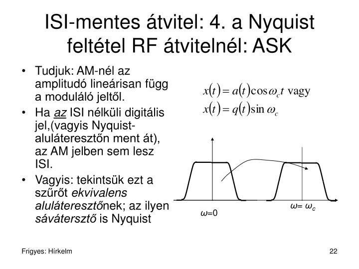 ISI-mentes átvitel: 4. a Nyquist feltétel RF átvitelnél: ASK