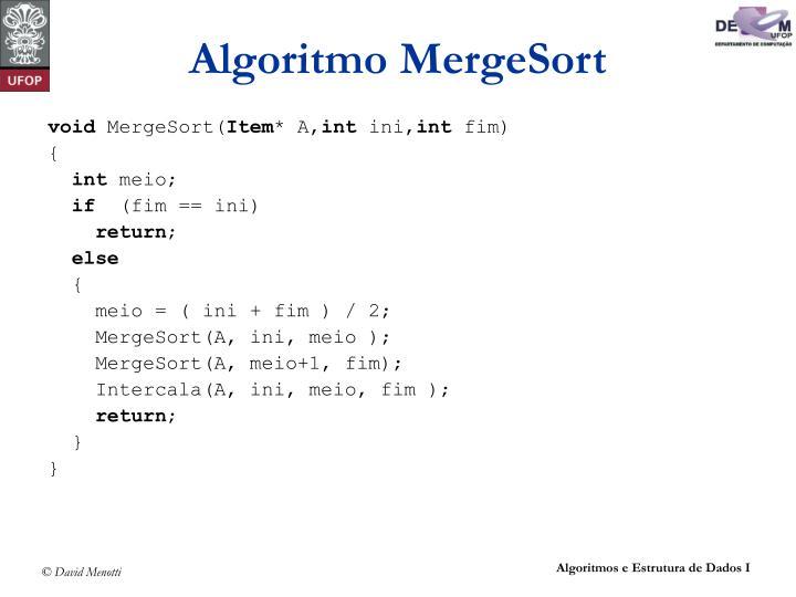 Algoritmo MergeSort