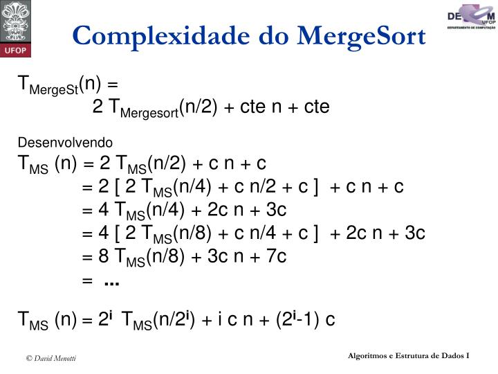 Complexidade do MergeSort