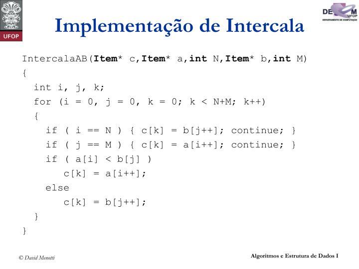 Implementação de Intercala