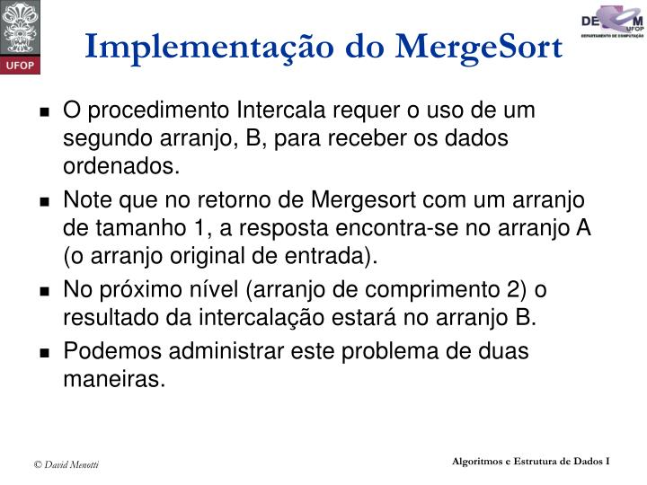 Implementação do MergeSort