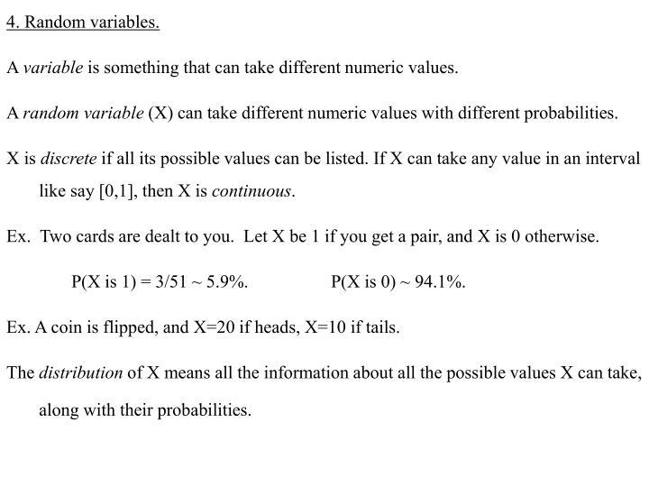 4. Random variables.