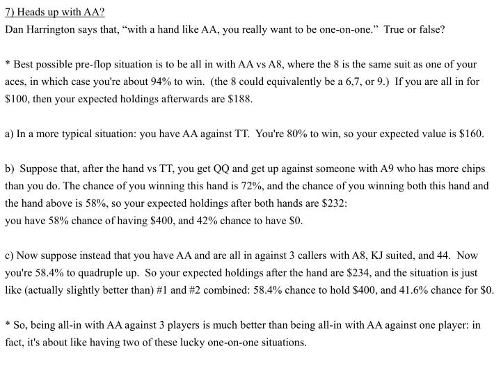 7) Heads up with AA?