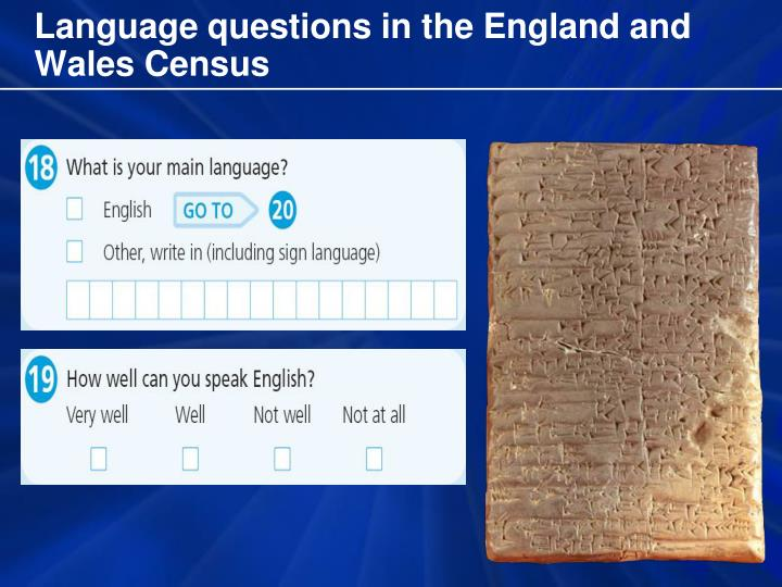 Language questions in the England and Wales Census