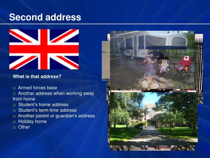 Second address