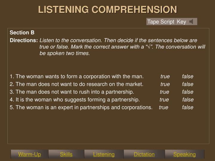 LISTENING COMPREHENSION