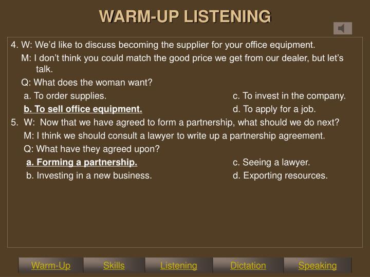 WARM-UP LISTENING