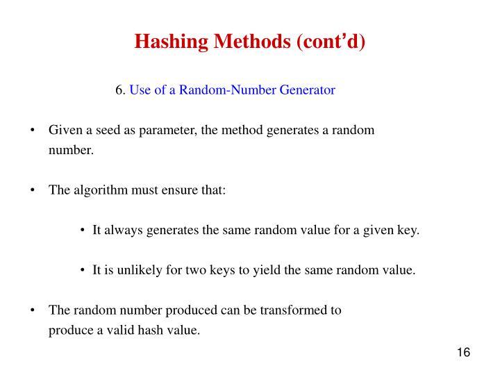 Hashing Methods (cont