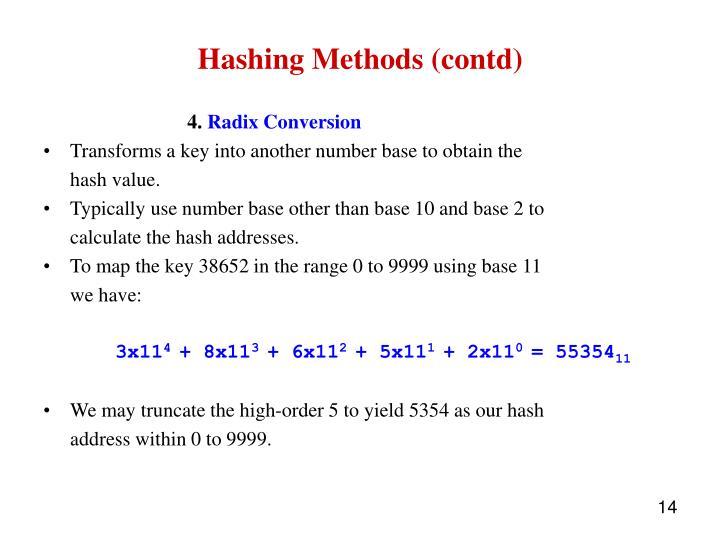 Hashing Methods (contd)