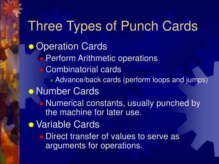Three Types of Punch Cards