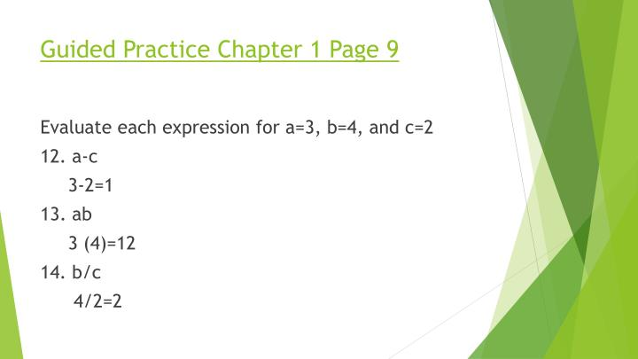 Guided Practice Chapter 1 Page 9