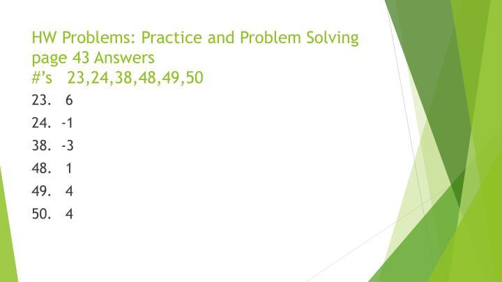HW Problems: Practice
